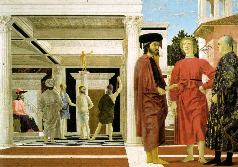 Piero della Francesca, Flagellation of the Christ, 1455-60 | © Galleria Nazionale delle Marche/WikiCommons