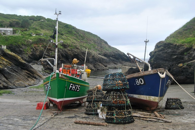 Fishing boats on a beach in Cornwall