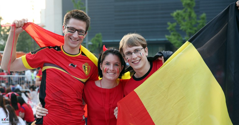 Belgian soccer fans all dressed up in the nation's colors | © Republic of Korea / Flickr
