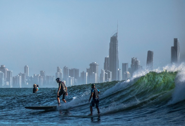 Surfing on Gold Coast, Qld