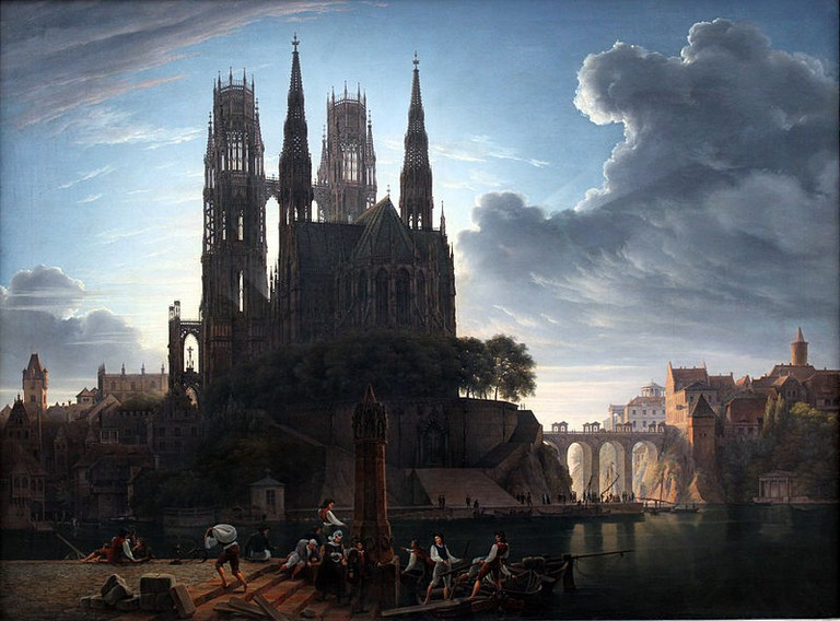 'Gotischer Dom am Wasser' by August Ahlborn, after Schinkel's lost original