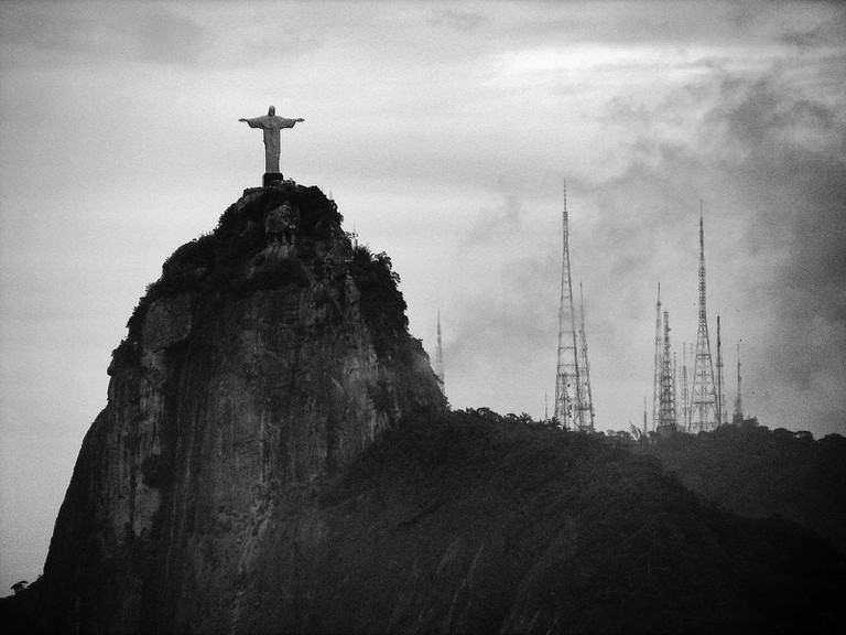Christ the Redeemer stands high on Corcovado mountain