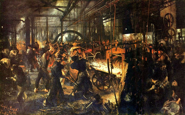 'The Iron Rolling Mill (Modern Cyclopes)' by Adolf Menzel