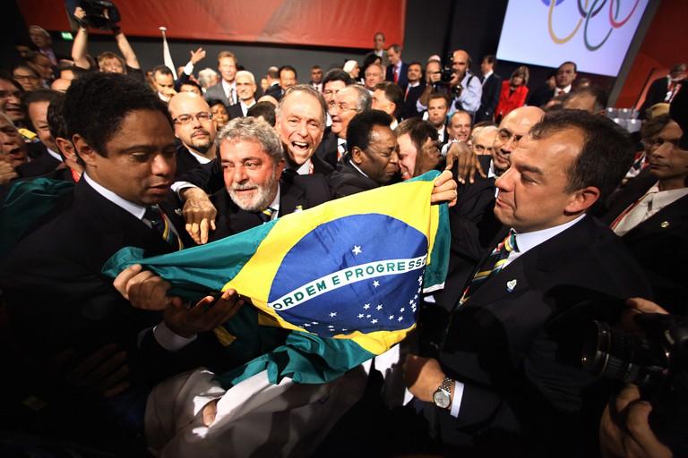 Rio's bid committee celebrate their success.