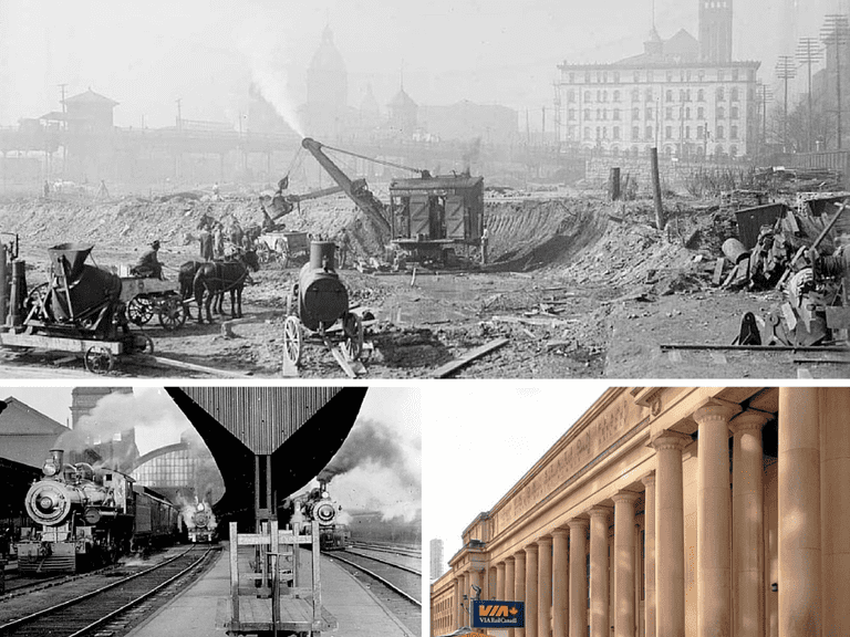 Excavating the site of the new Union Station in 1915, with original Union Station in background | Public Domain/City of Toronto Archives/Wikicommons | Old Union Station Toronto, 1907 | Public Domain/City of Toronto Archives/Wikicommons | Union Station, Toronto | © Peregrine981/Wikicommons
