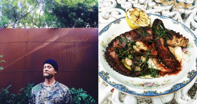 Chef Brian Dunsmoor and the Grilled Octopus (credit: Derek Taylor and Hatchet Hall)