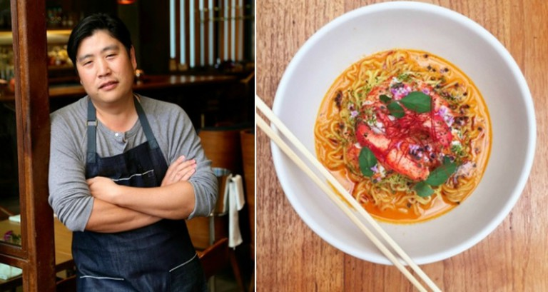 Chef Brandon Kida and the Butter lobster ramen (credit: Hinoki & The Bird)