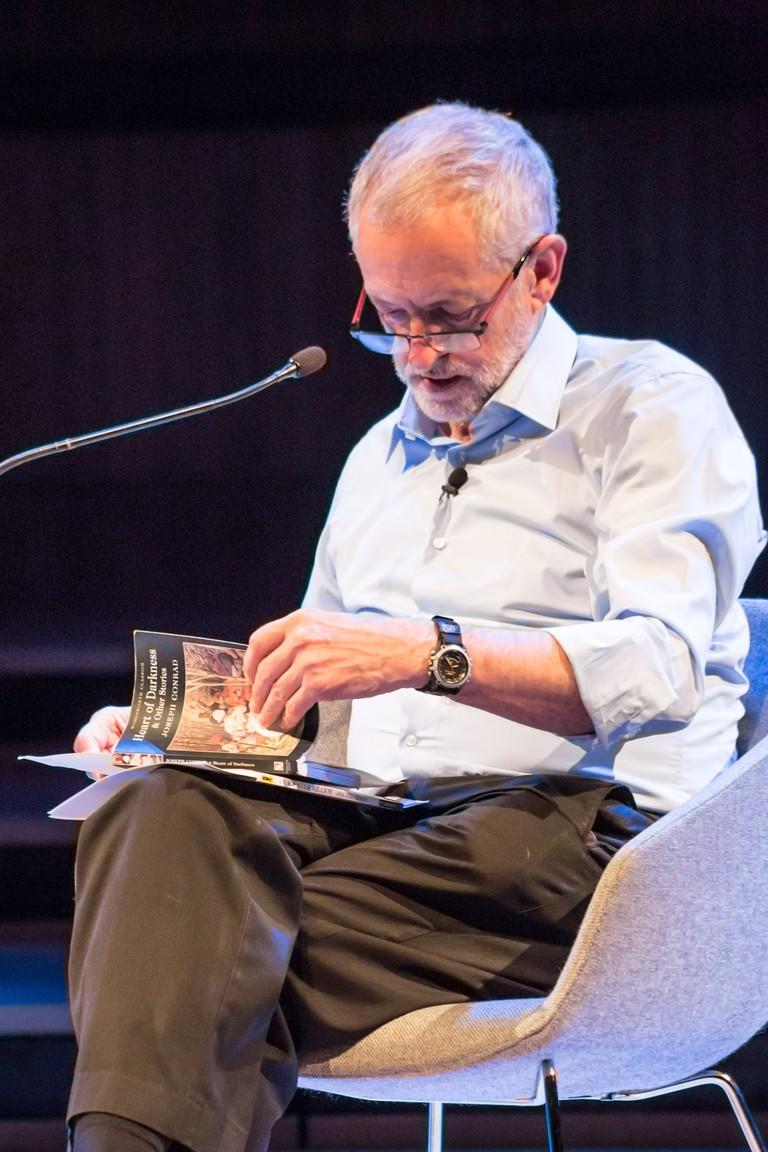 Jeremy Corbyn reads an 'arrogant' pro-European passage in Joseph Conrads 'Heart of Darkness', a book Okri desribes as troubling|©Adam Weatherley/Southbank Centre