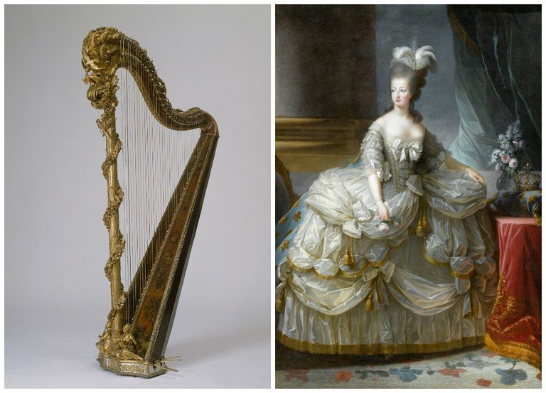 Marie-Antoinette's harp, 1775, gilded and painted wood, metal, bronze, pearl and glass beads on loan from the Palace of Versailles | Courtesy of RMN-Grand Palais (Château de Versailles) // Queen Marie-Antoinette, 1783, oil on canvas on loan from the Palace of Versailles | Courtesy of Château de Versailles, Dist. RMN-Grand Palais / Gérard Blot
