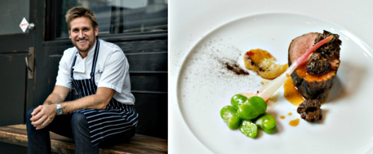 Chef Curtis Stone(credit: Ray Kachatorian) and the Veal Tenderloin (credit: Clay Larsen)