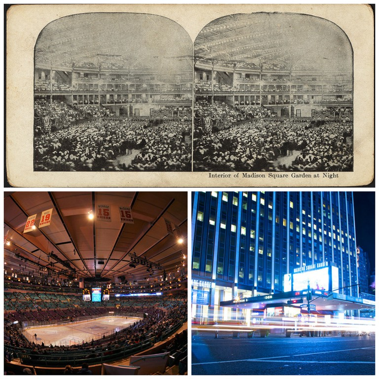 Interior of Madison Square Garden at night | © Boston Public Library / MSG | © Ludovic Bertron/Flickr / Madison Square Garden, NYC | © Paul Silva/Flickr