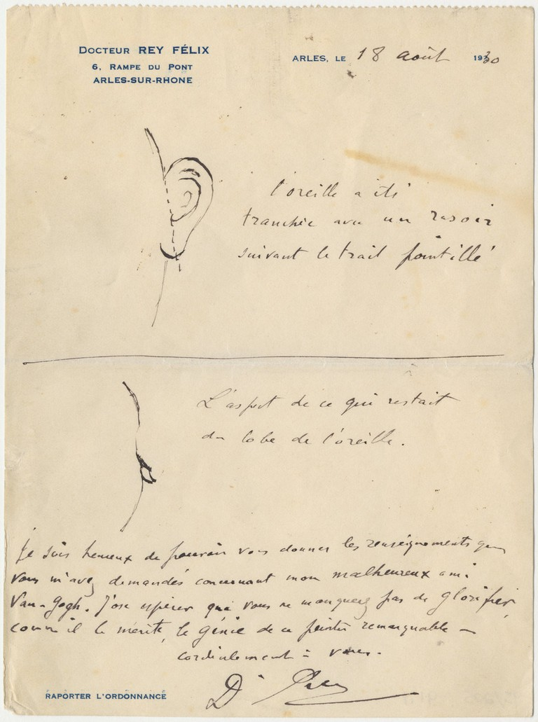 Letter from Félix Rey to Irving Stone with drawings of Vincent van Gogh's mutilated ear, 18 August 1930, The Bancroft Library, University of California, Berkeley| Courtesy of the Van Gogh Museum
