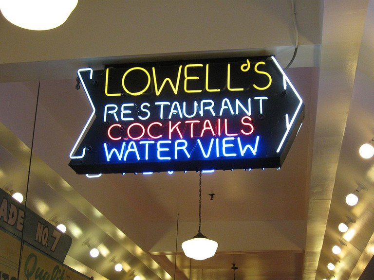 Pike Place Market entrance to the Lowells diner overhead signage