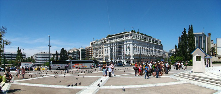 Syntagma Square with 5-star Hotel Grande Bretagne in the background
