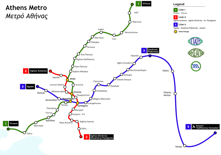 Map of the Athens Metro
