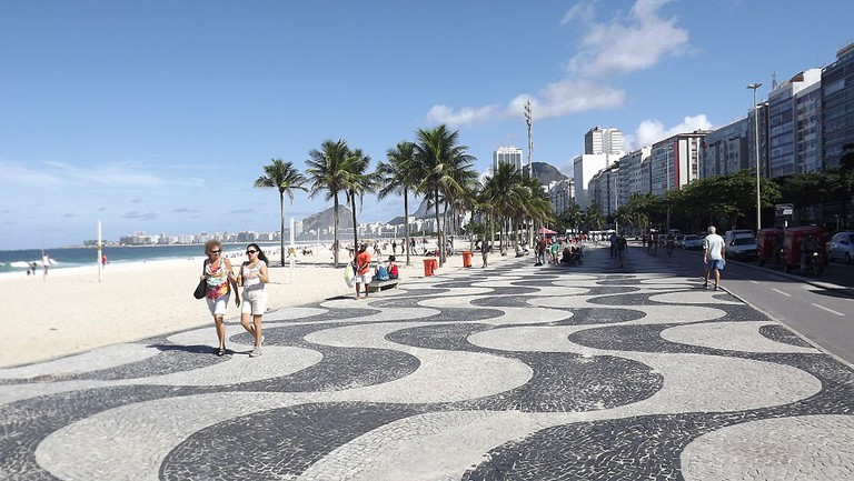 The famous black and white wave prints of the Copacabana promenade