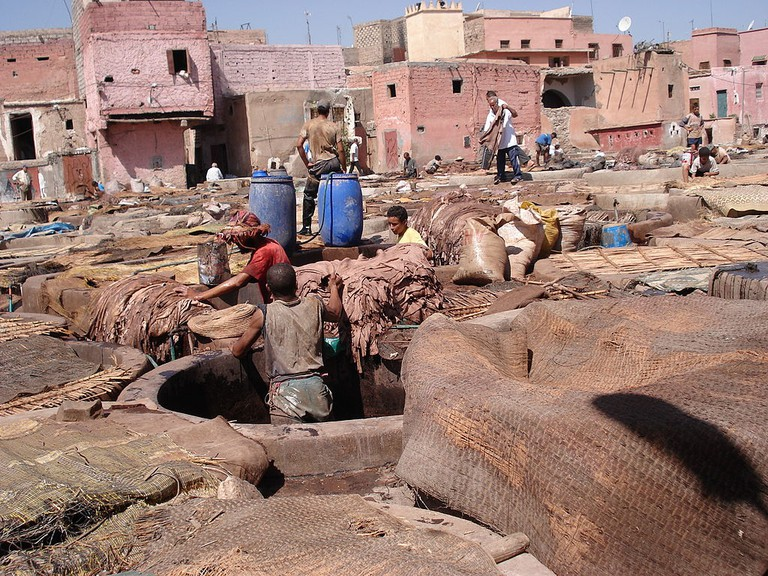 Men at work in the Marrakech tanneries