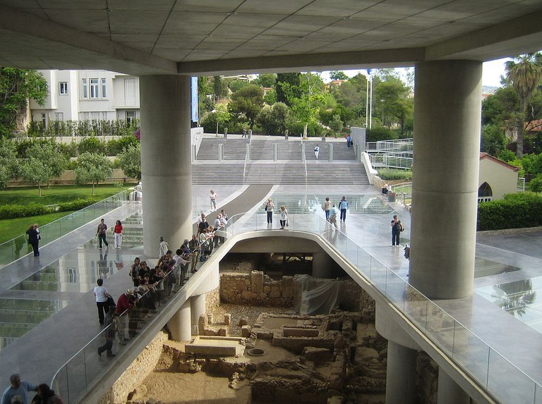 Ruins at the entrance to the Acropolis Museum