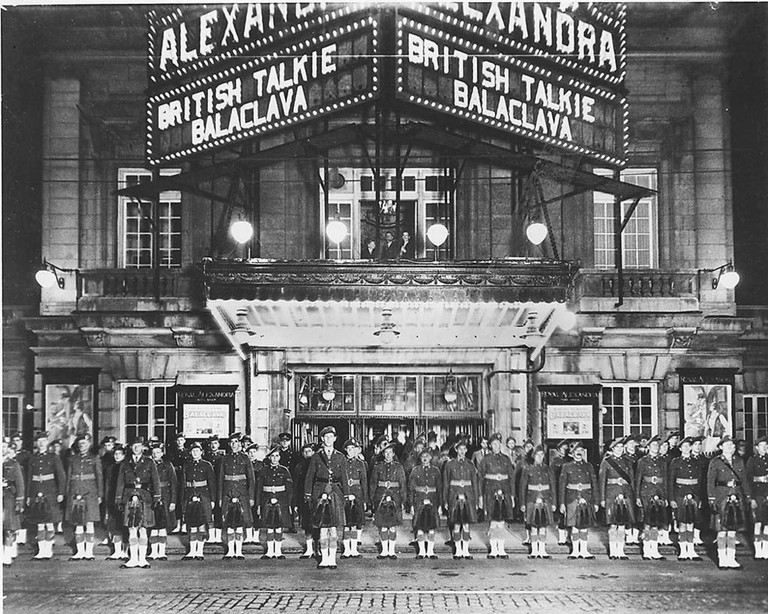 Soldiers at Royal Alexandra Theatre, Toronto, showing the British film Balaclava (1928) after it was reissued as a talkie