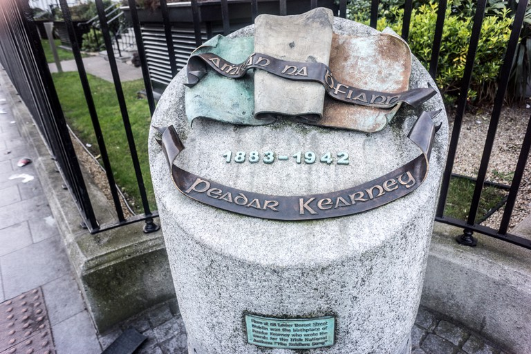 A monument to Peadar Kearney on the street where he was born
