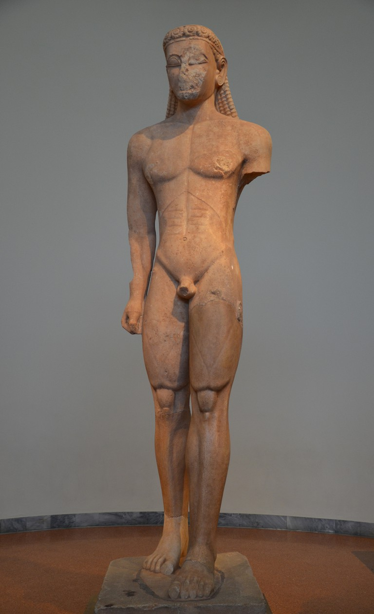 Statue of a Kouros, from the Sanctuary of Poseidon at Sounion, ca. 600 BC, National Archaeological Museum of Athens| © Carole Roddato/Flickr
