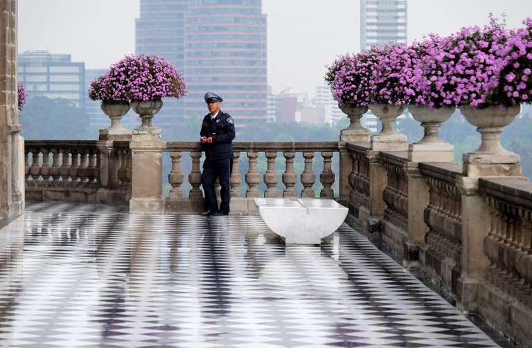 Policeman on the balcony
