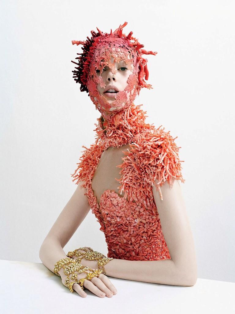 Sarah Burton for Alexander McQueen coral-encrusted dress – Spring-Summer 2012, photographed by Tim Walker for Vogue magazine