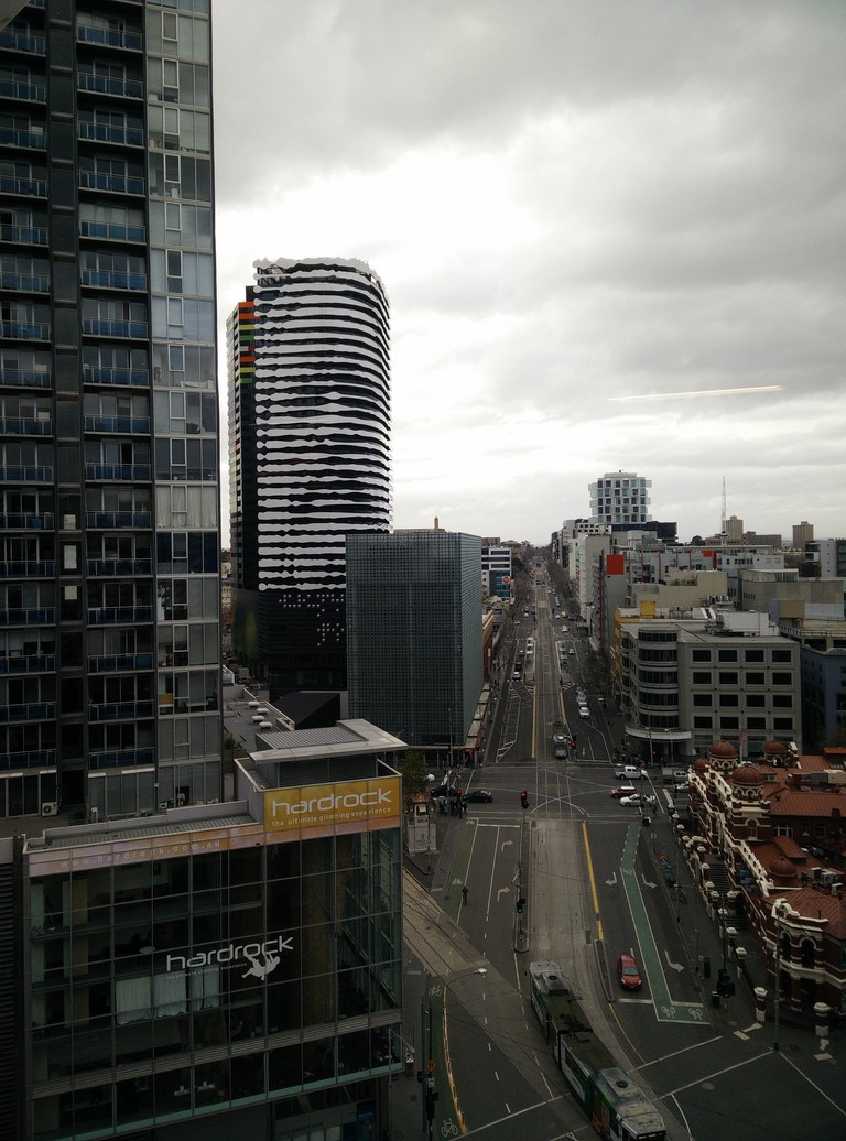 William Barak of the Wurundjeri people looks out over Swanston St in Melbourne