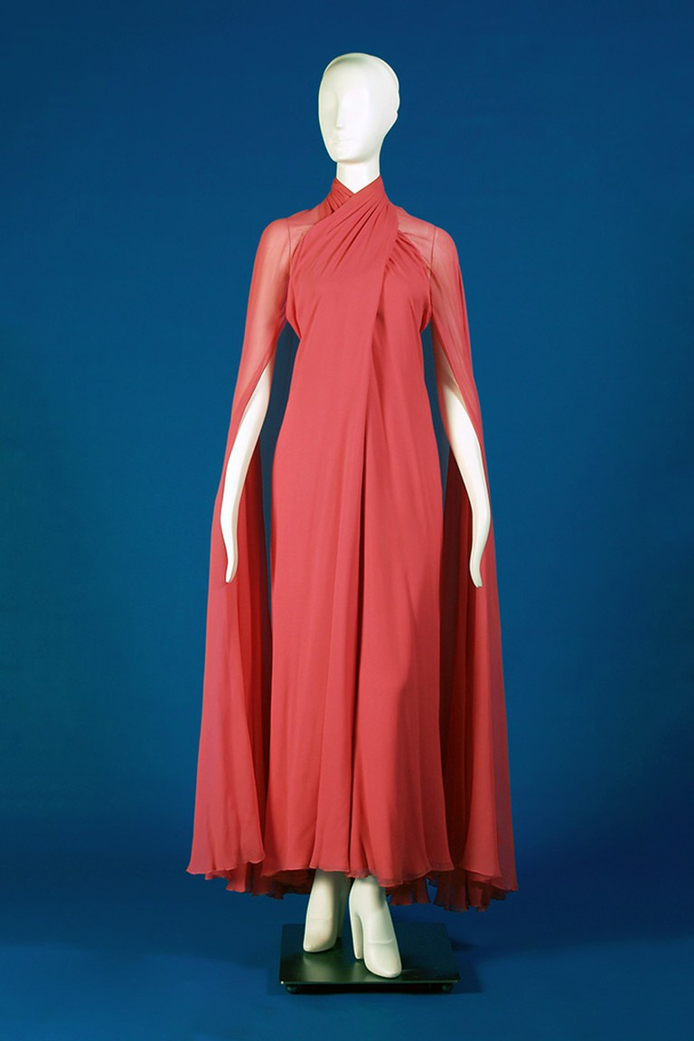 Pink silk chiffon evening dress with attached train, 1970s