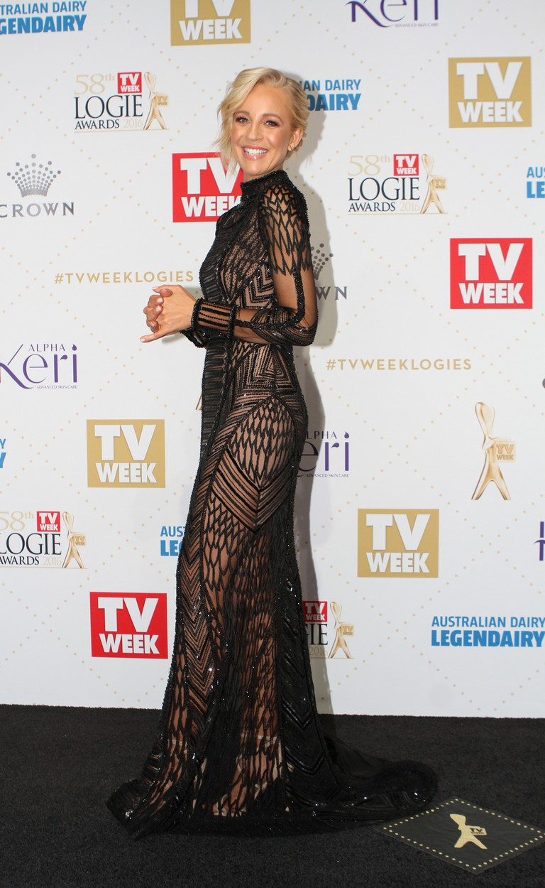 Carrie Bickmore arrives at the 58th Annual Logie Awards at Crown Palladium