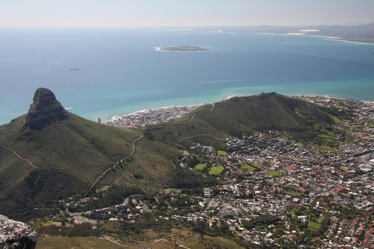 Lion's Head and Signal Hill with Robben Island in the distance