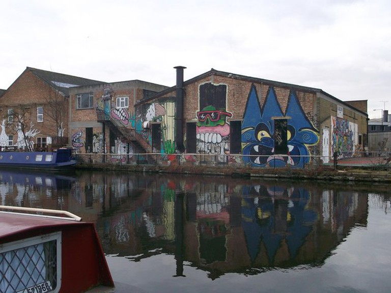 Graffiti on Fish Island's warehouses, opposite the Olympic Park