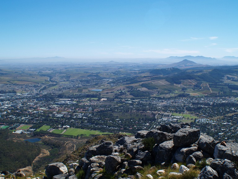 An aerial view of Stellenbosch