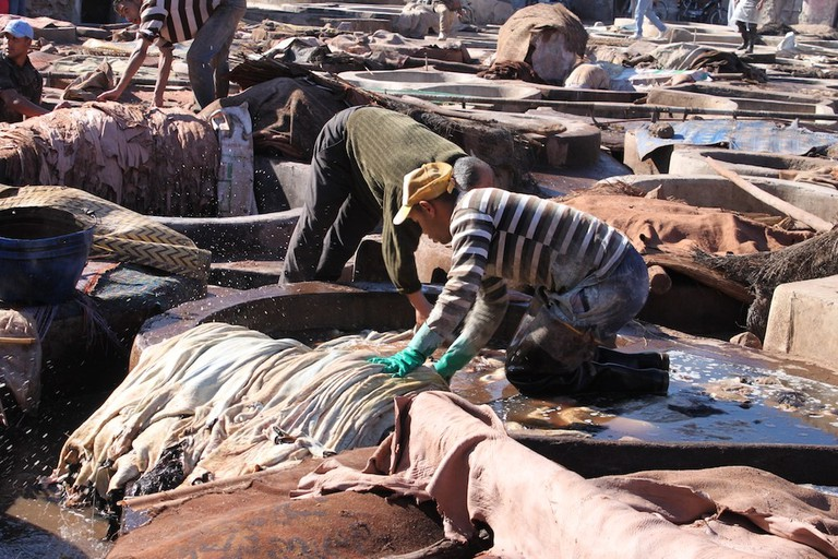 Working in the tanneries in Marrakech
