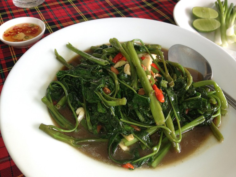 Pad Pak Bung Fai Daeng (Stir-Fried Morning Glory)
