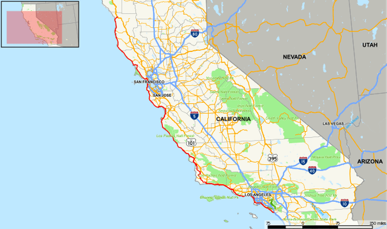 Map of the PCH In California