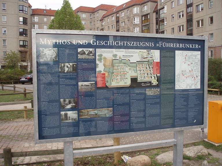 Explanatory panel at the site of Hitler's bunker