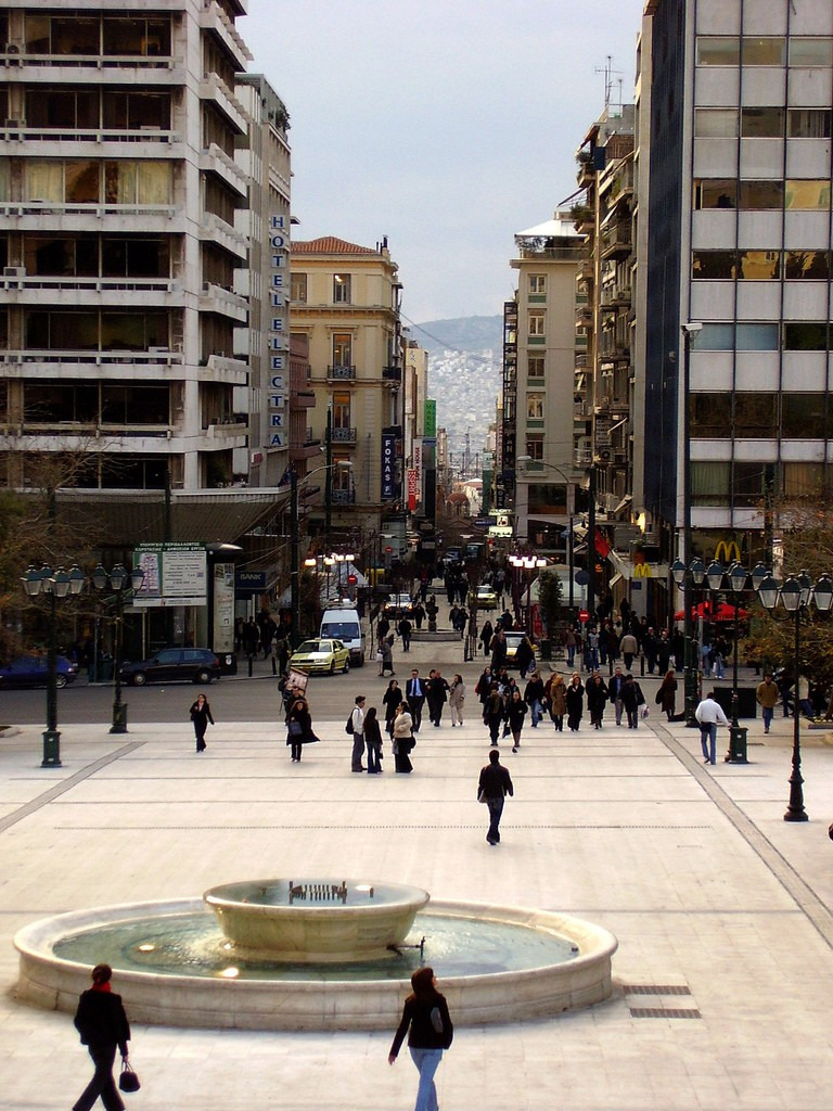 Syntagma Square, looking towards Ermou High Street