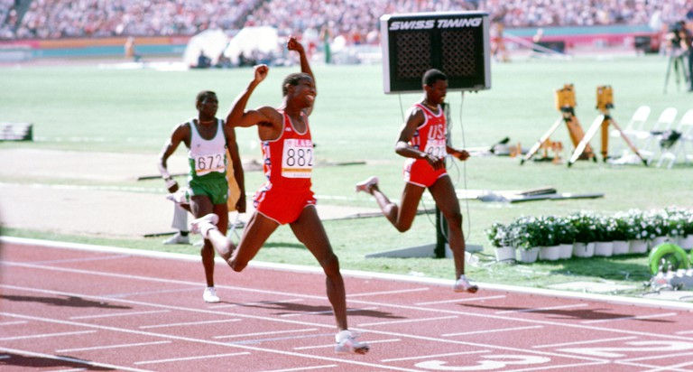Alonzo Babers crosses the finish line to win gold in the 400m in the 1984 Olympics in Los Angeles.