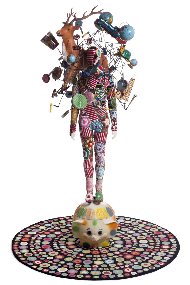 Nick Cave. Soundsuit, 2015. Mixed media, including vintage toys and globes, wire, fabric, rug, metal and mannequin. Courtesy of the artist and Jack Shainman Gallery, New York. Photo: James Prinz