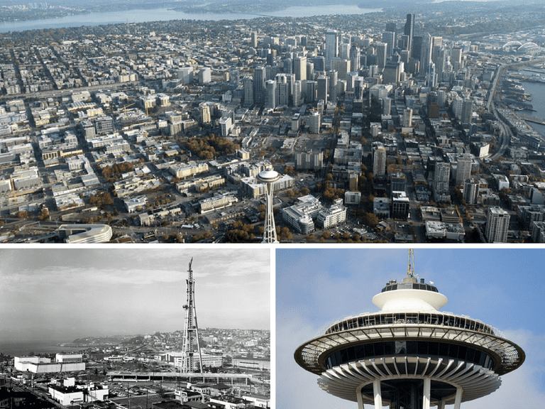 The Space Needle in the foreground of an aerial photo of Seattle | © Jelson25/Wikicommons | Space Needle under construction, 1961 | © Seattle Municipal Archives/Wikicommons | The top of the Space Needle | © Cacophony/Wikicommons