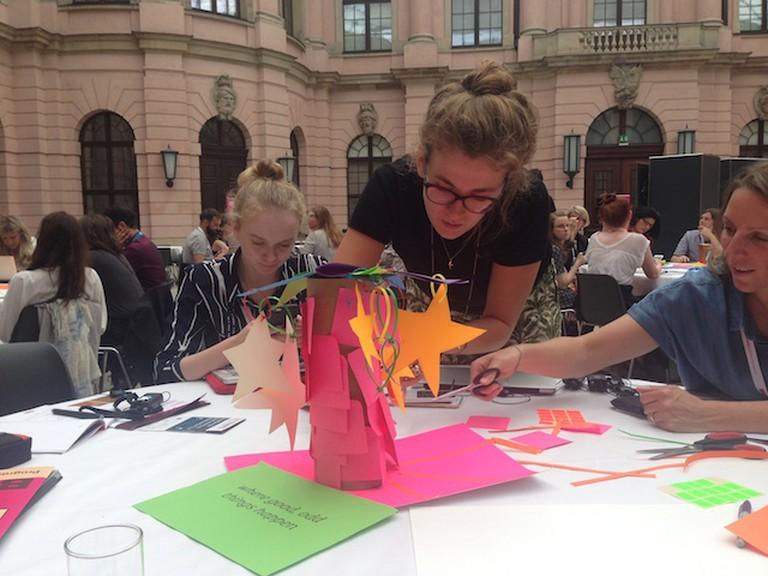 Team members working together during Jo Marsh's workshop, CTM16 Berlin