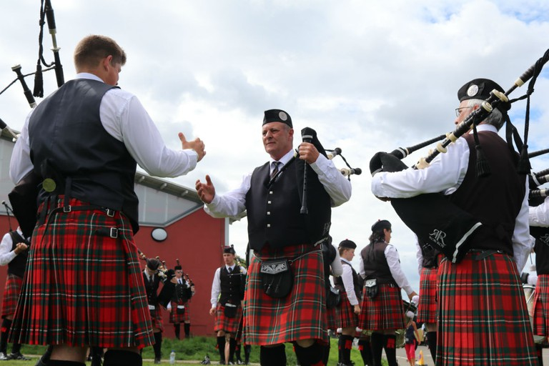 Bagpipe Players At A Highland Games