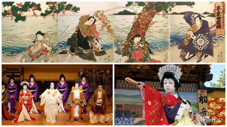 Top: A depiction of a 1824 performance in Osaka | © WikiCommons / Bottom left: A kabuki troupe performs in London | © GanMed64/Flickr / Bottom right: A children's kabuki performance | © lensonjapan/Flickr