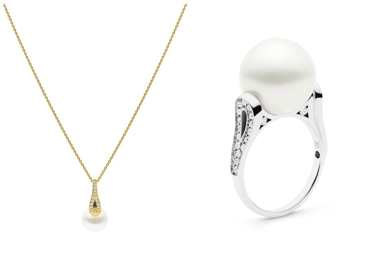 Ballerina Pendant: Yellow Gold: 152812 RRP: $3,540, This 18ct gold pendant features G/VS diamonds (0.22ct) and a 12-13mm Australian South Sea pearl. Chain is not included. / Ballerina Ring: White Gold: 162822 RRP: $5,460, This 18ct gold ring features G/VS diamonds (0.40ct) and 13-14mm Australian South Sea pearl. | Courtesy of Kailis