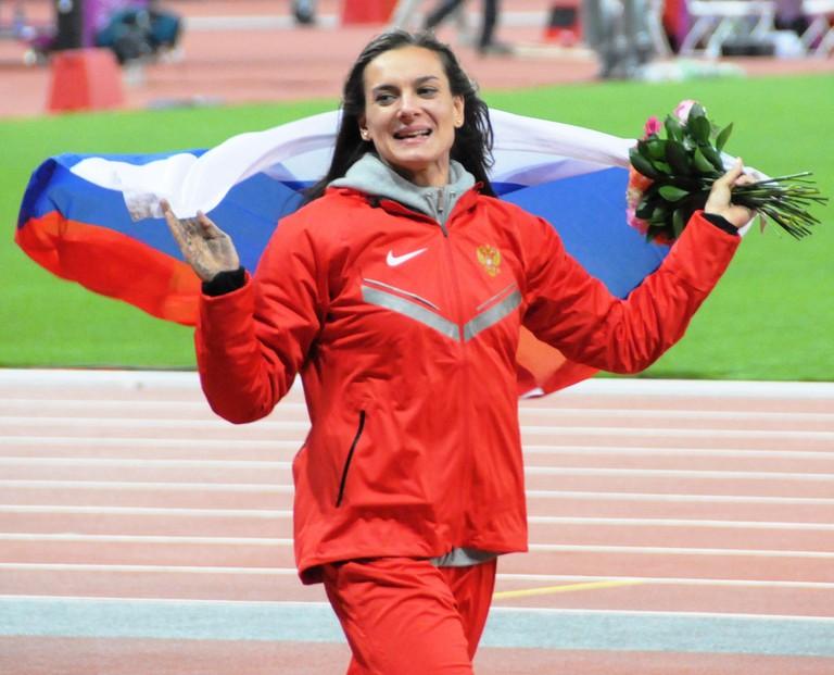 Yelena Isinbayeva celebrating at the 2013 World Championships