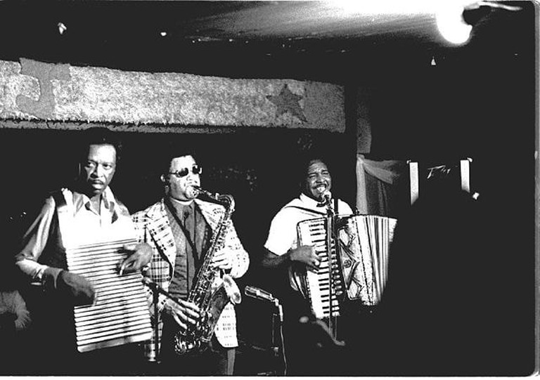 Chenier Brothers performing at Jay's Lounge and Cockpit, Cankton, Louisiana, Mardi Gras, 1975