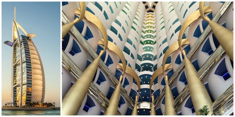 Exterior and interior of the Burj Al Arab