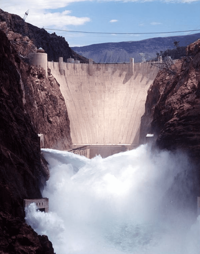 Hoover Dam releasing water from the jet-flow gates in 1998