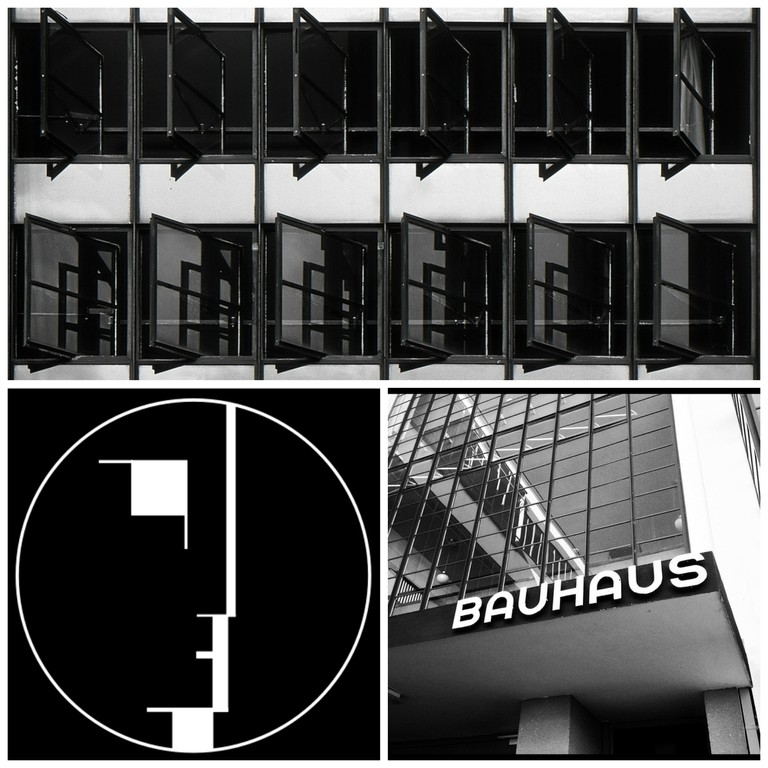 Dessau: Bauhaus Windows | © Harold Selke/Flickr / Bauhaus-Signet | © Lucano/WikiCommons / The Bauhaus Dessau | © Justin Kelly/Flickr